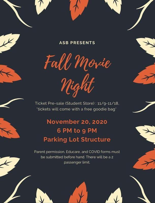 ASB's Fall Movie Night - November 20th Featured Photo