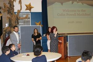 Mrs. Diaz and Mr. Hanna addressing the audience