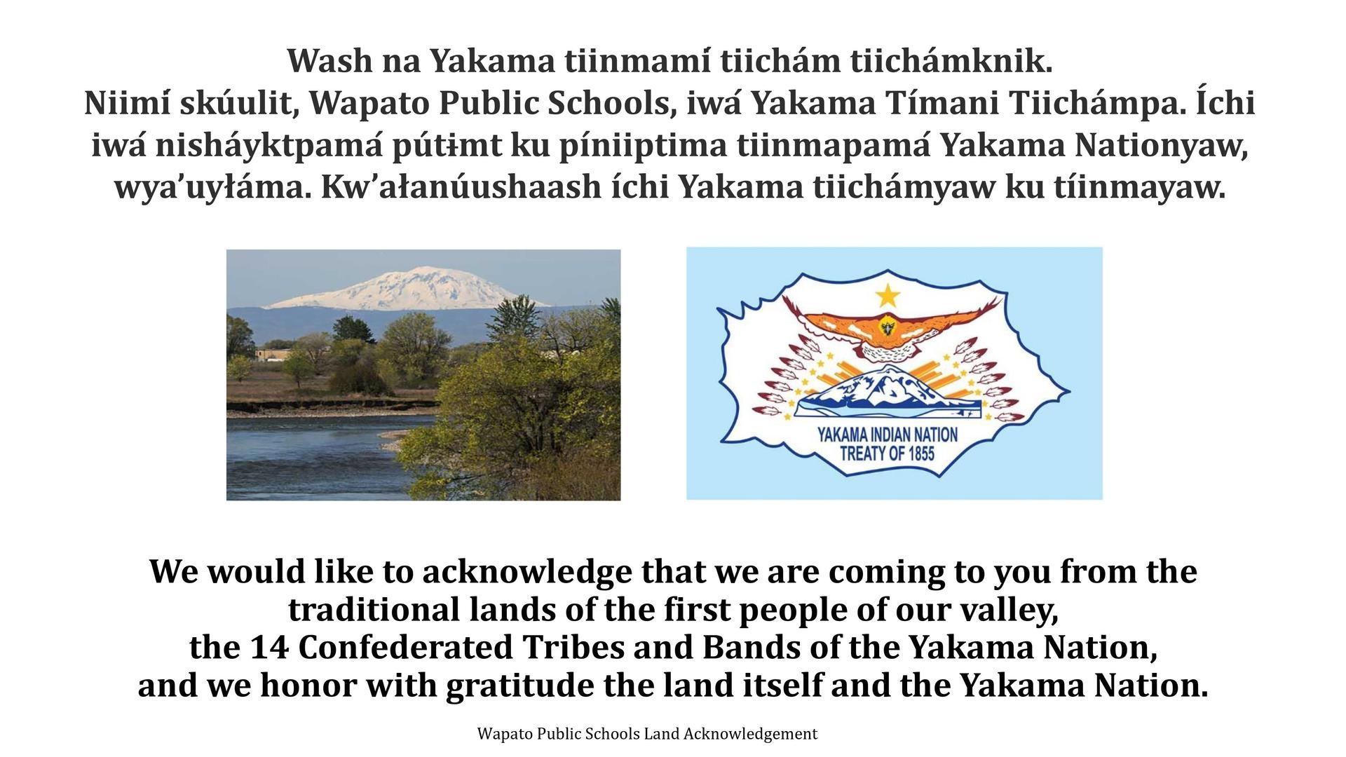 photo of Mt. Adams and Yakama Nation Flag