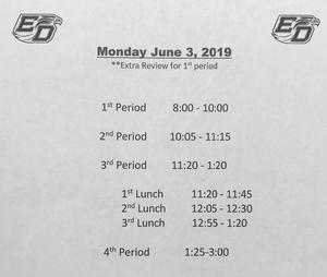 June 3 schedule