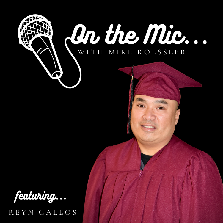 On the Mic logo with Reyn pictures in graduation cap and gown