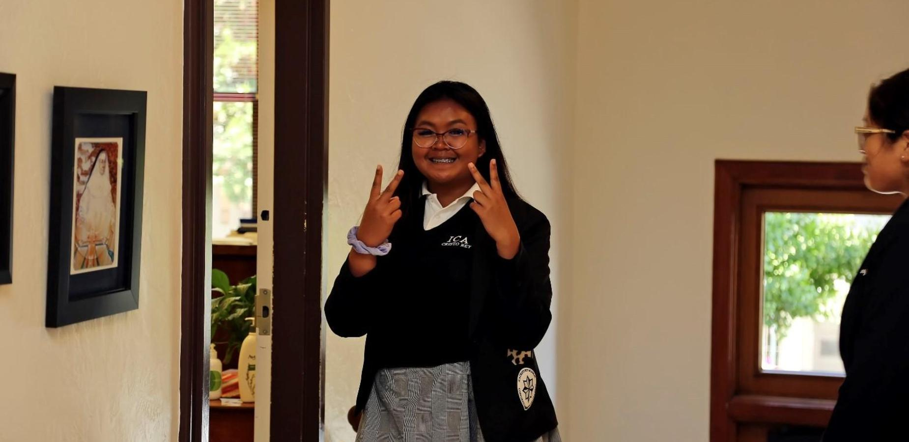 student in the main building