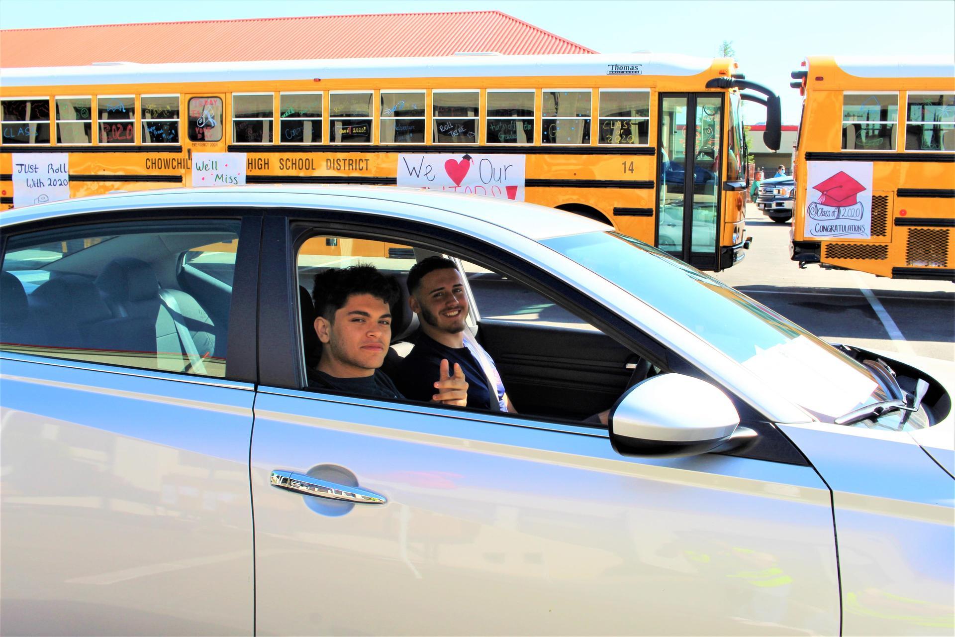 Jacob Arteaga riding with Peter Carty driving through
