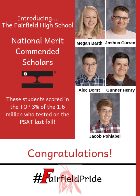Image of the five students named National Merit Commended Scholars at Fairfield High School.