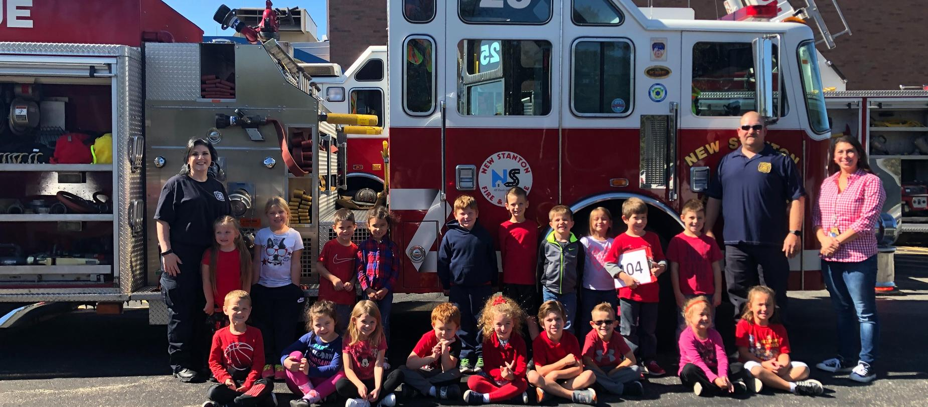 students and fire truck