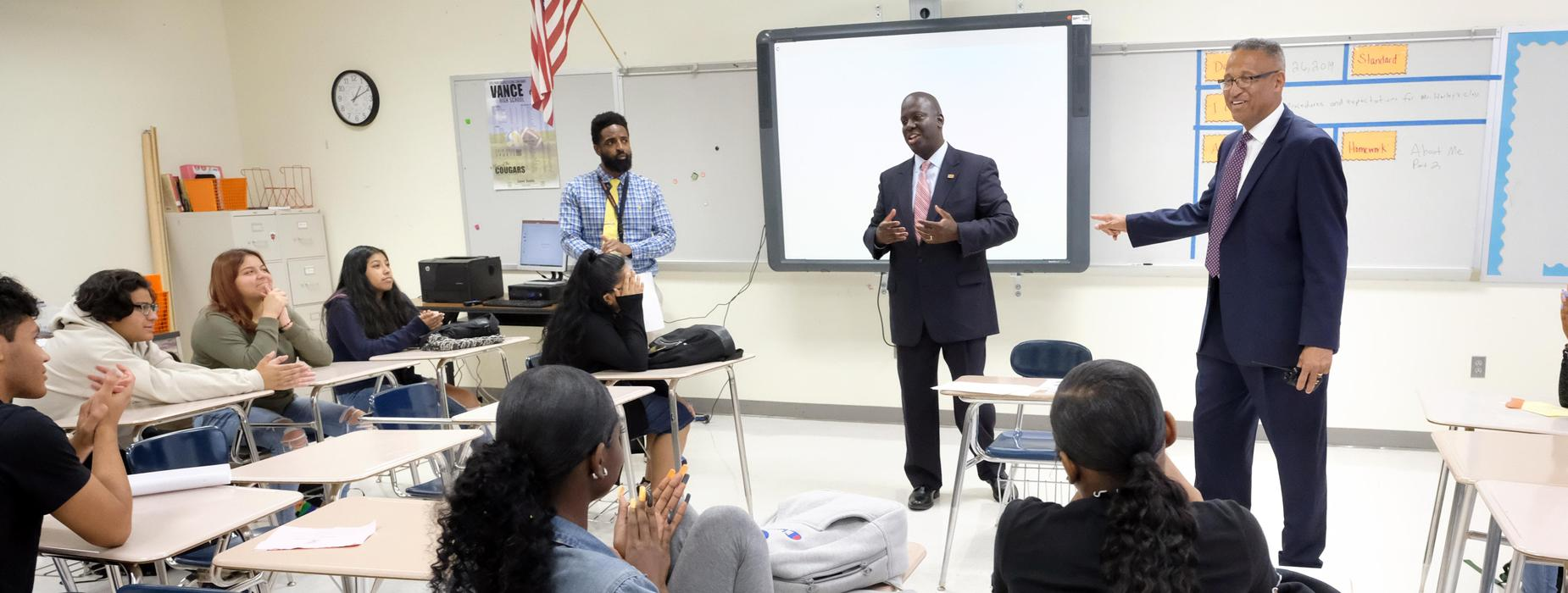 Superintendent Earnest Winston visits the classroom where he taught at Vance High