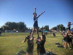 Dartmouth cheer showing their spirit against Rancho Viejo