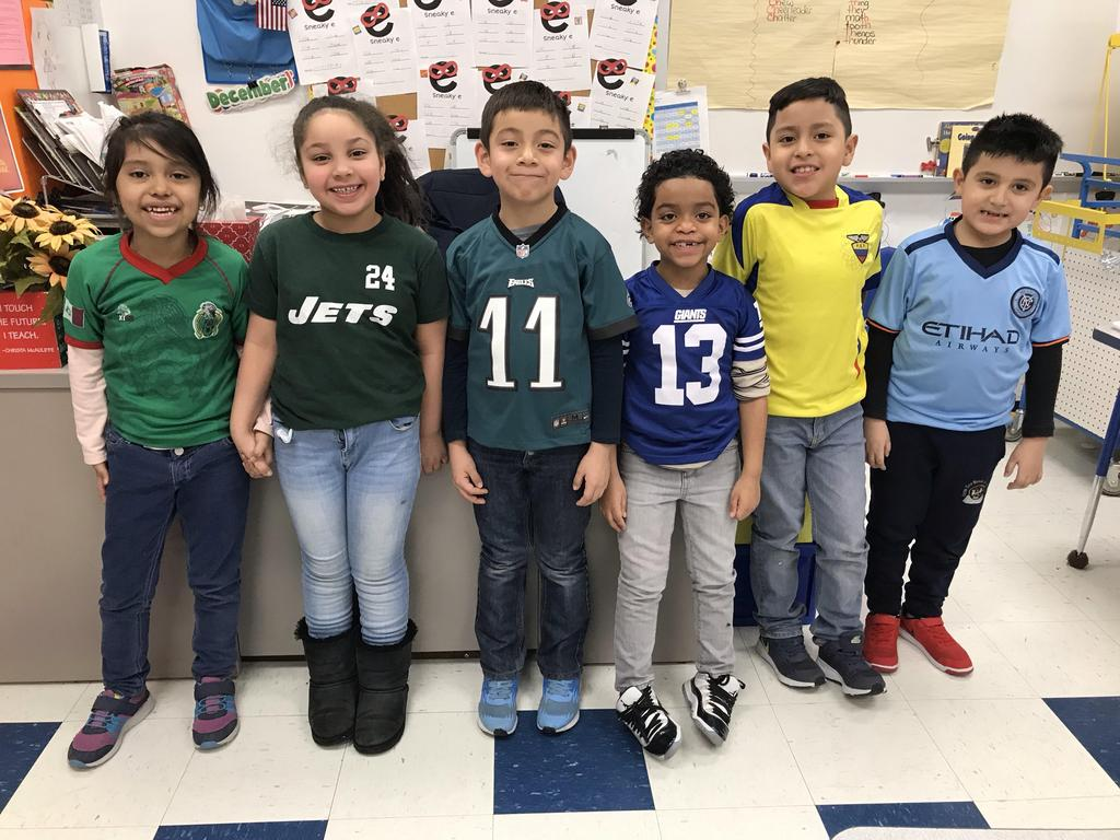 group of kids wearing their team spirit