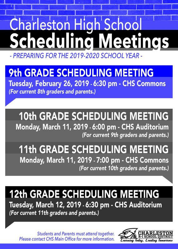 CHS Scheduling Meetings 2019-2020 (see post for schedule)
