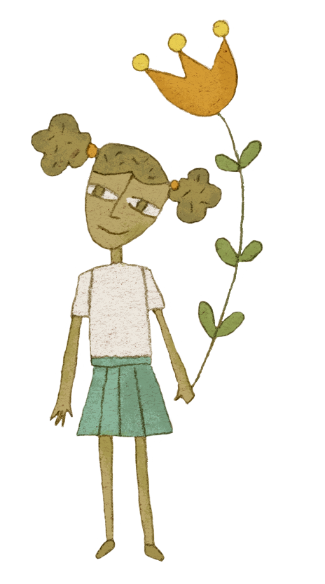 Childlike drawing of a Black girl holding a large flower