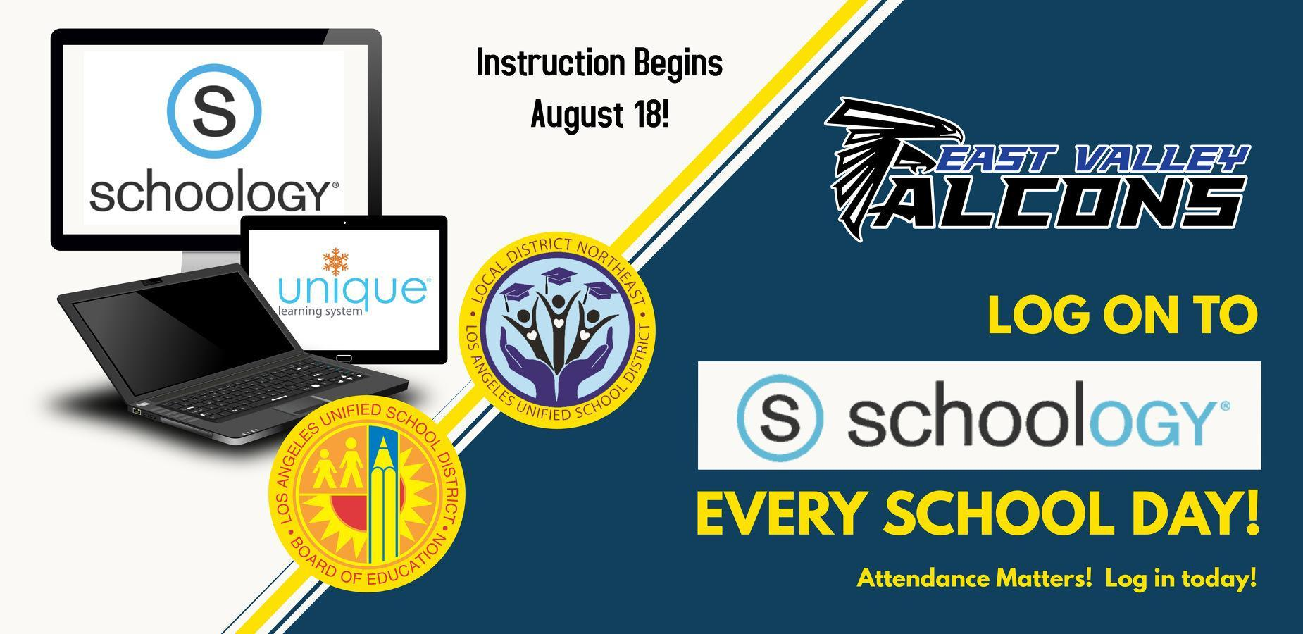 Sign in to Schoology every school day!