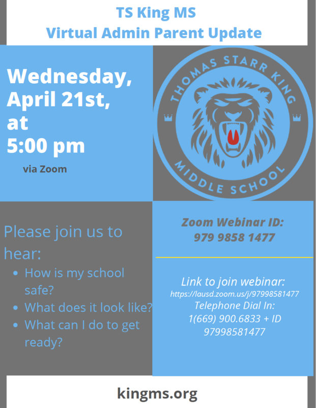 Virtual Admin Parent Update - Wednesday, April 21 @ 5:00 pm Featured Photo