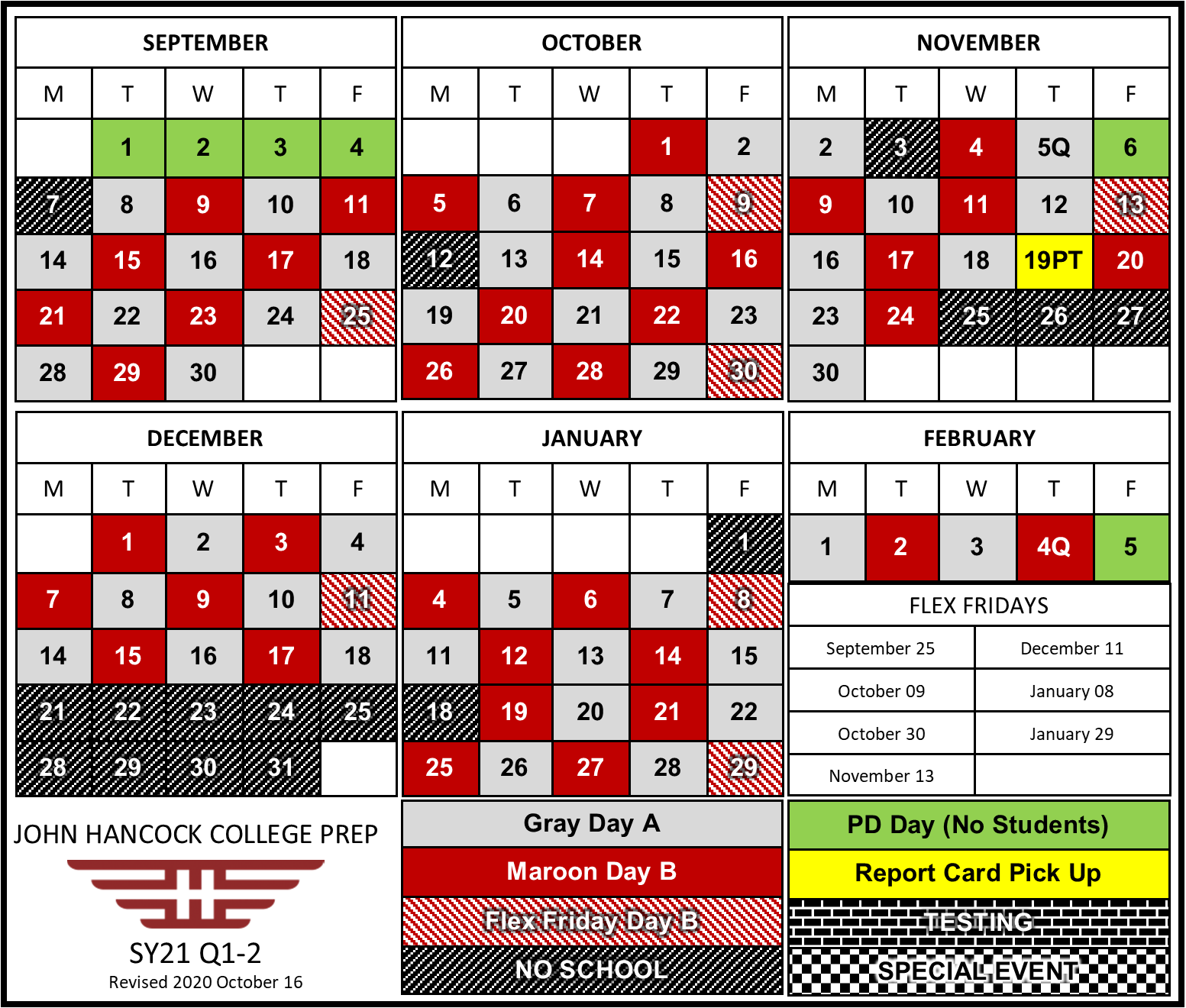 First semester calendar during remote learning