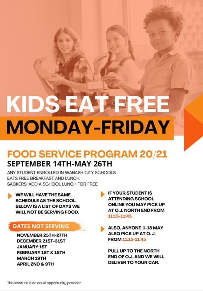 Wabash Summer Food program 2020 flyer