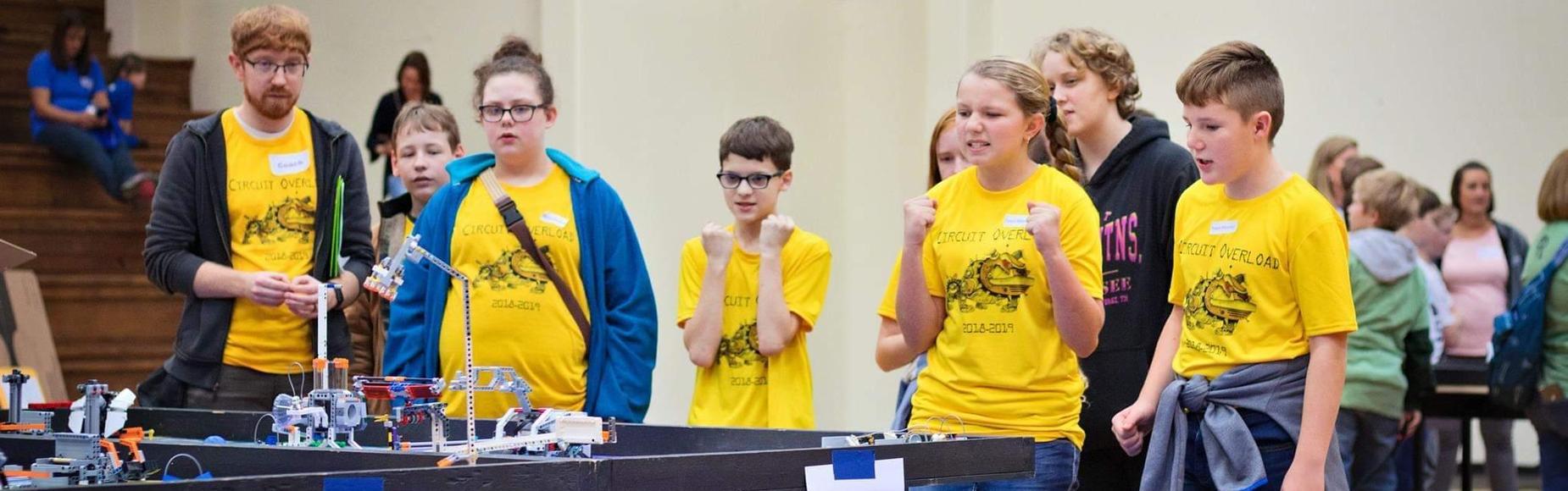 Intense-looking robotics team
