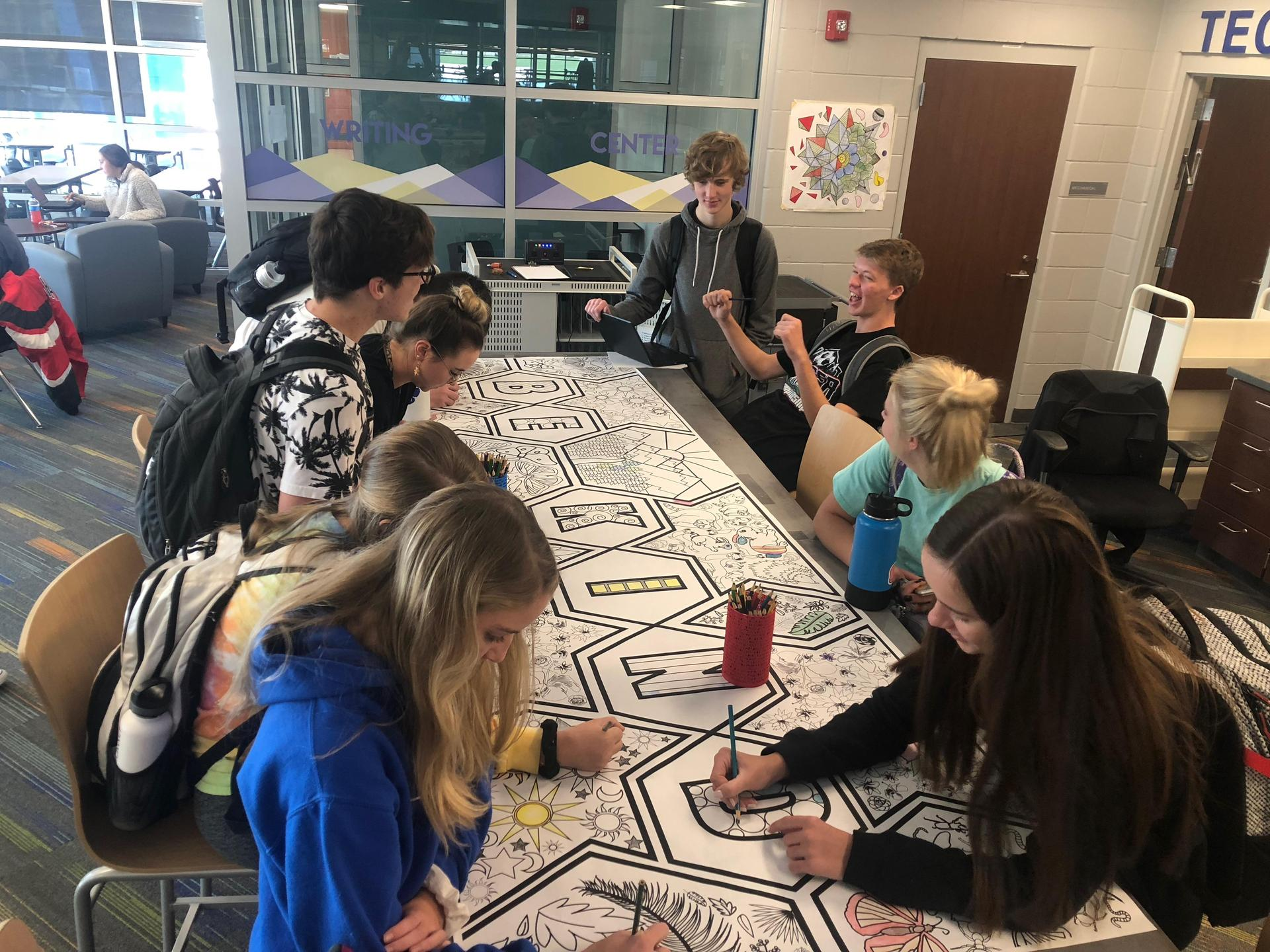Giant Coloring Page with Students