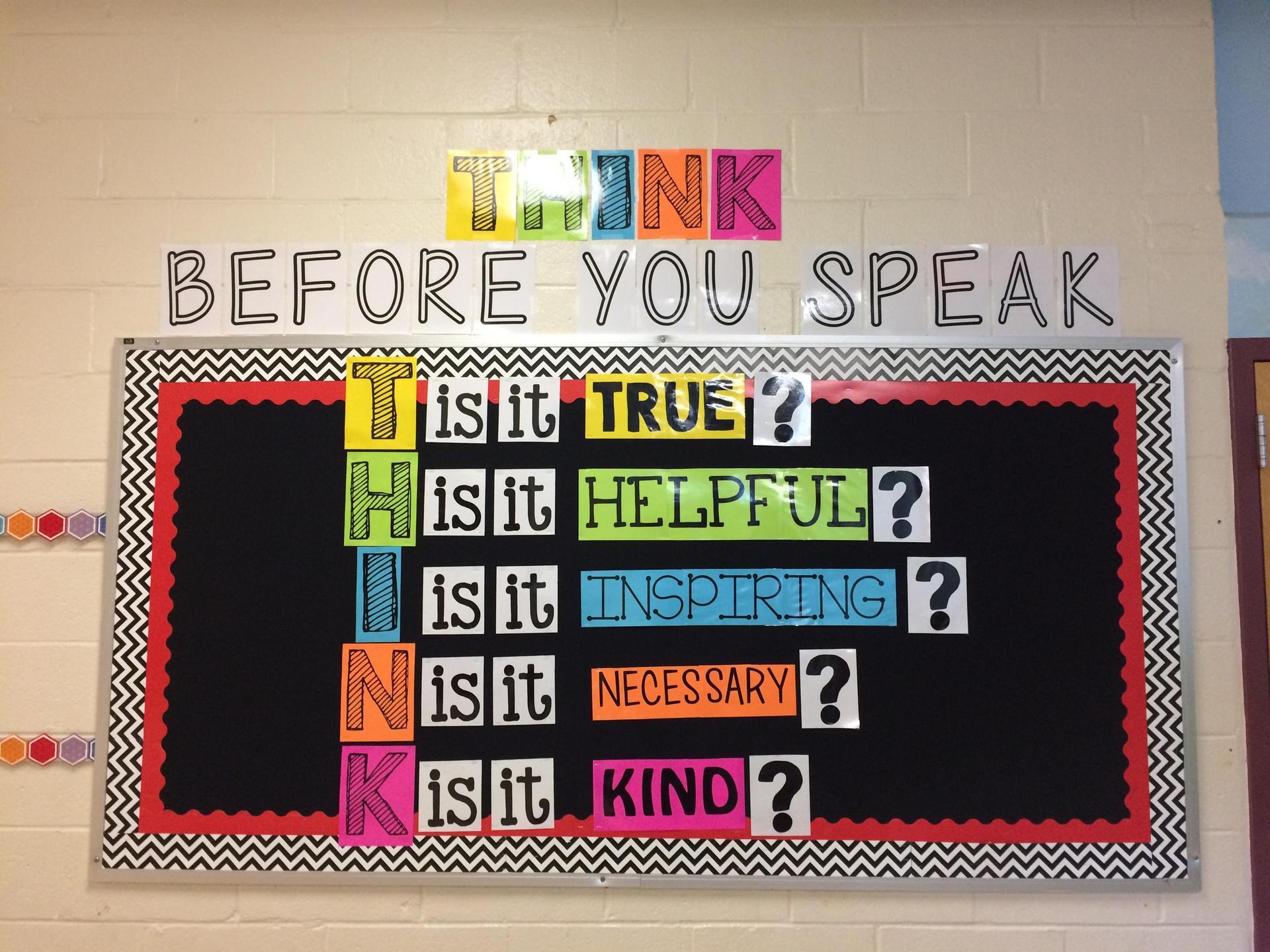 Think before you speak bulliten board