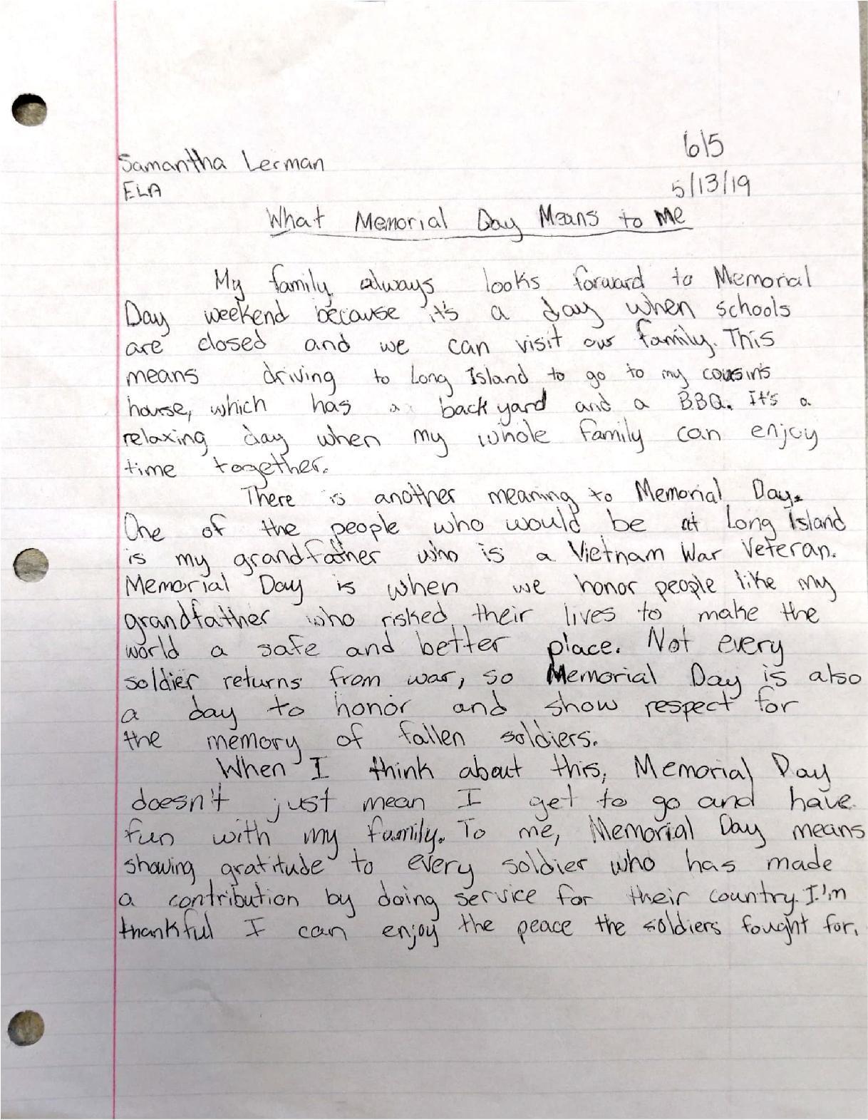 Memorial Day Essay 1