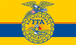 FFA Logo on Yellow background with blue and red stripe