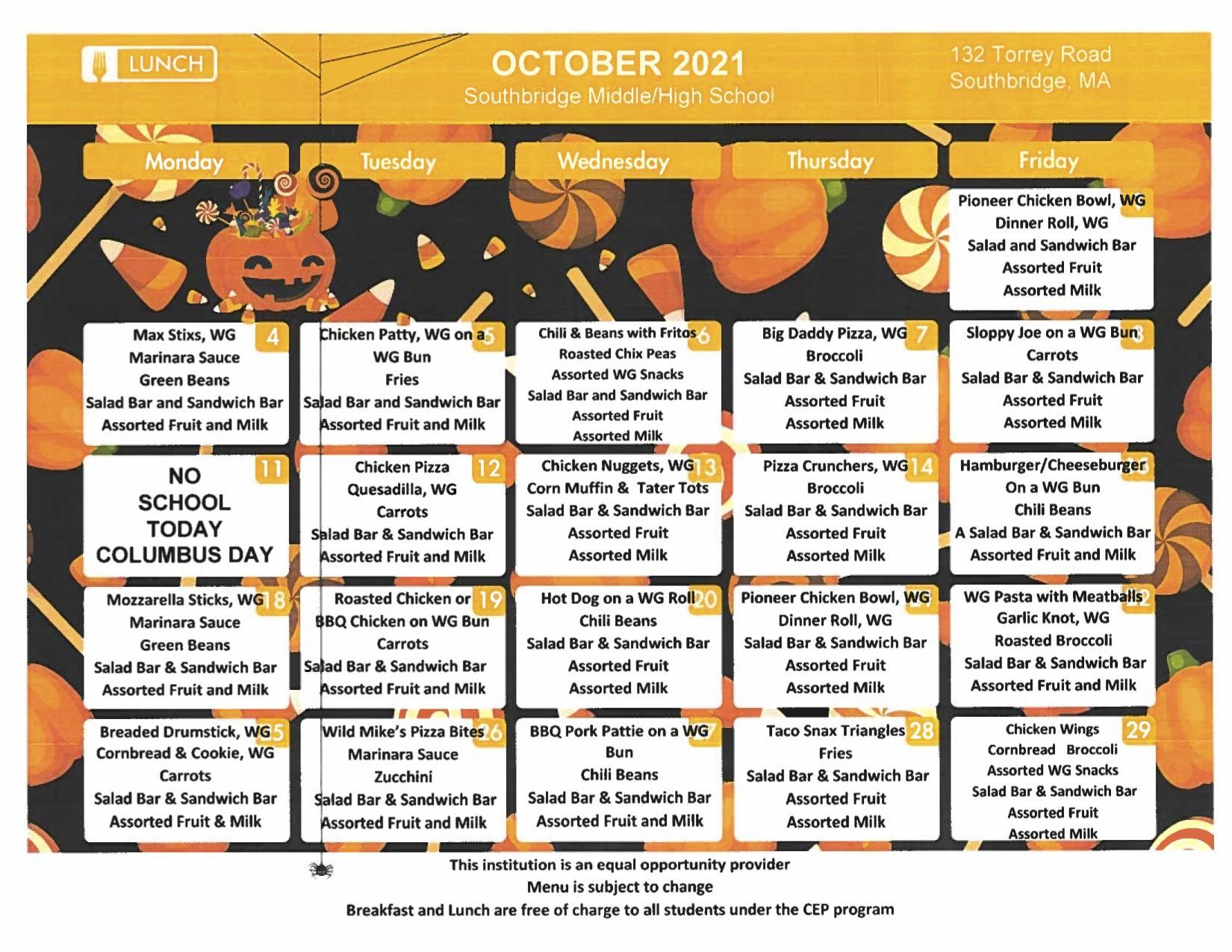 October 2021 menu for Southbridge Middle High School. Also available as a download on this page