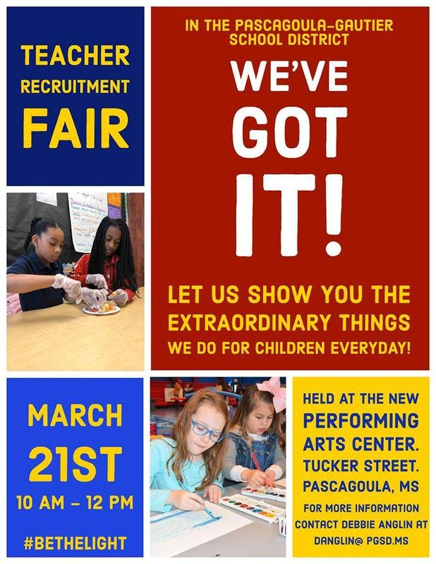 Come See Us at the Teacher Recruitment Fair Saturday, March 21st 10 am -12 pm