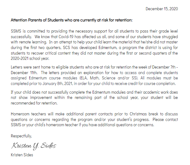 Attention Parents of Students who are currently at risk for retention: Featured Photo