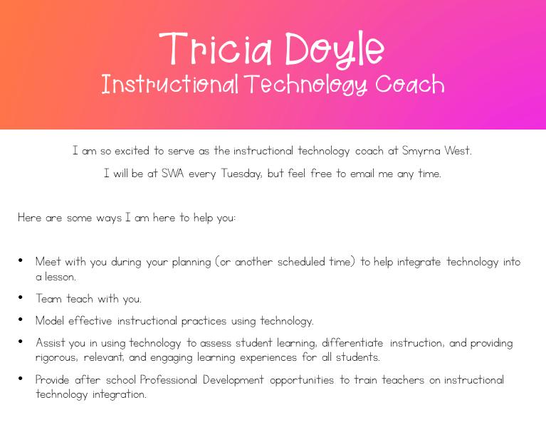 Tricia Doyle, Instructional Technology Coach