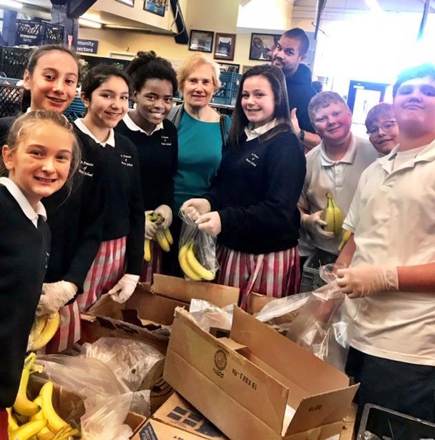 Students volunteering at Food Bank
