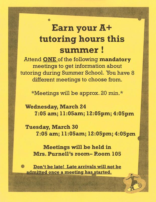 Meetings about A+ Tutoring hours during summer school
