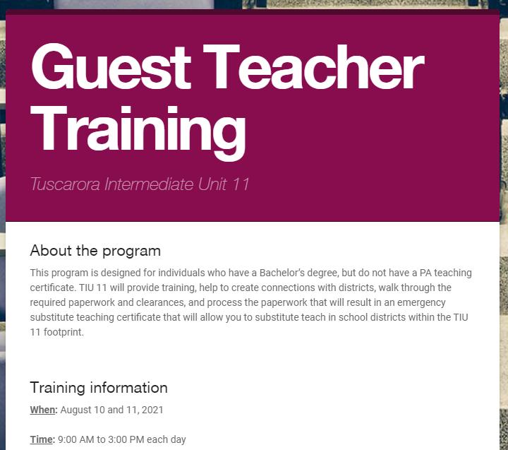 Guest Teacher Training