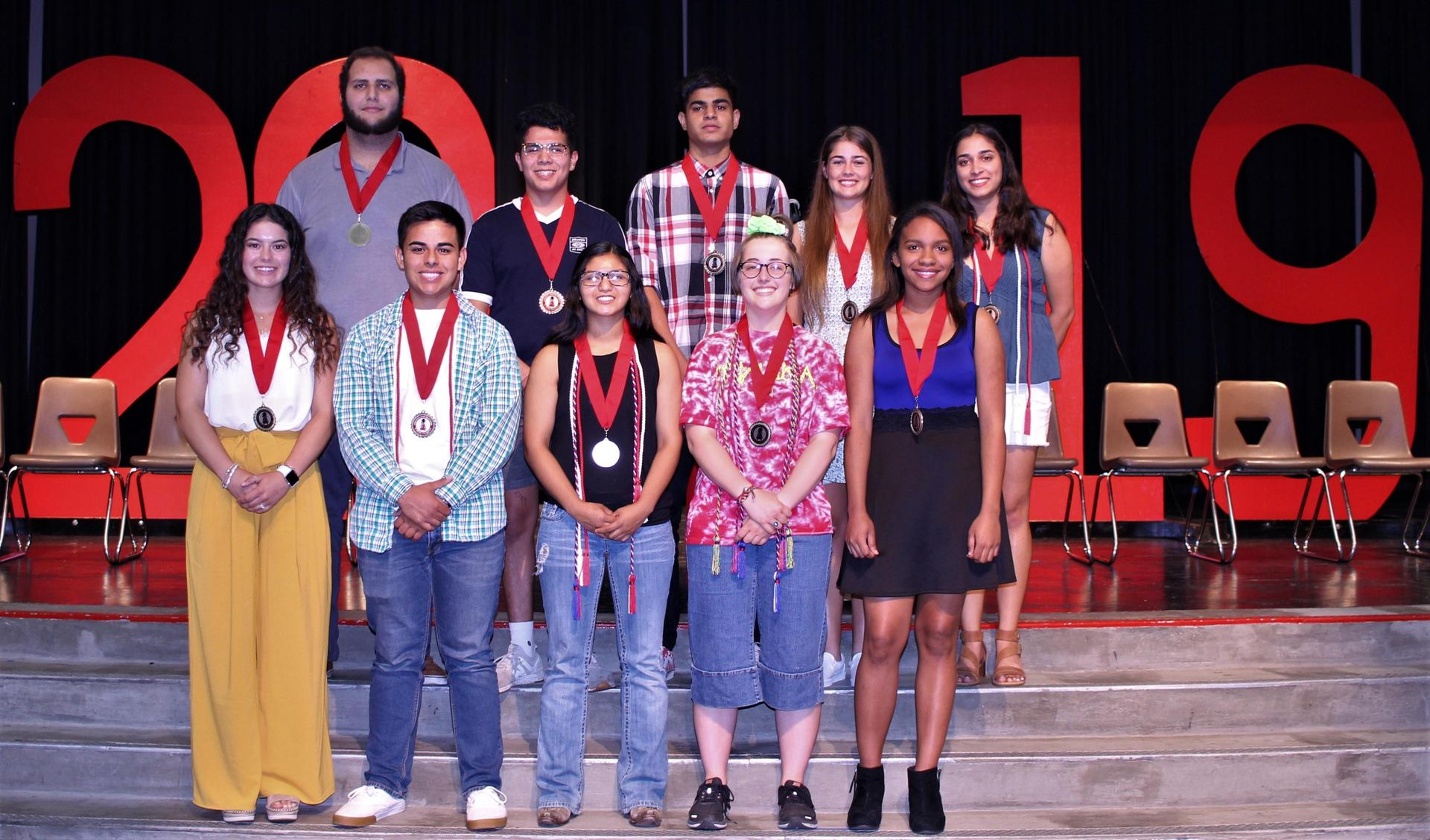 Back: Waseem Musleh, Kristean Robles, Jashandeep Singh, Kylie Hill, Allie Suarez, Front: Morgan Sewell, Nicholas Gargano, Frenchi Salas, Madison Ingraham, Pria Cooper