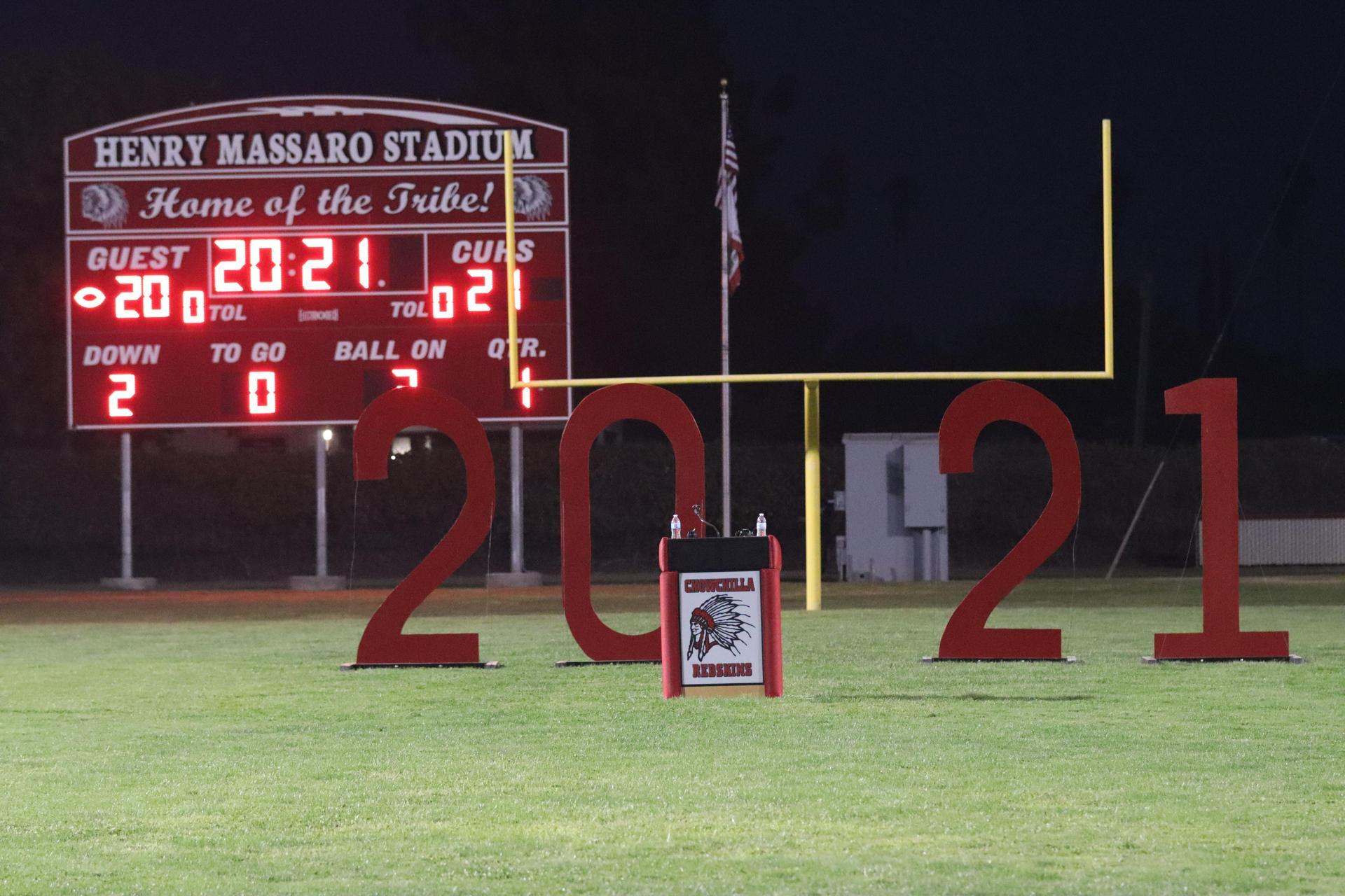 the scoreboard shows 2021