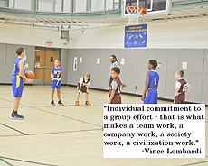 "Image: Student of the NYI Basketball team playing in a game. ""Individual commitment to a group effort - that is what makes a team work, a company work, a society work, a civilization work."" -Vince Lombardi"