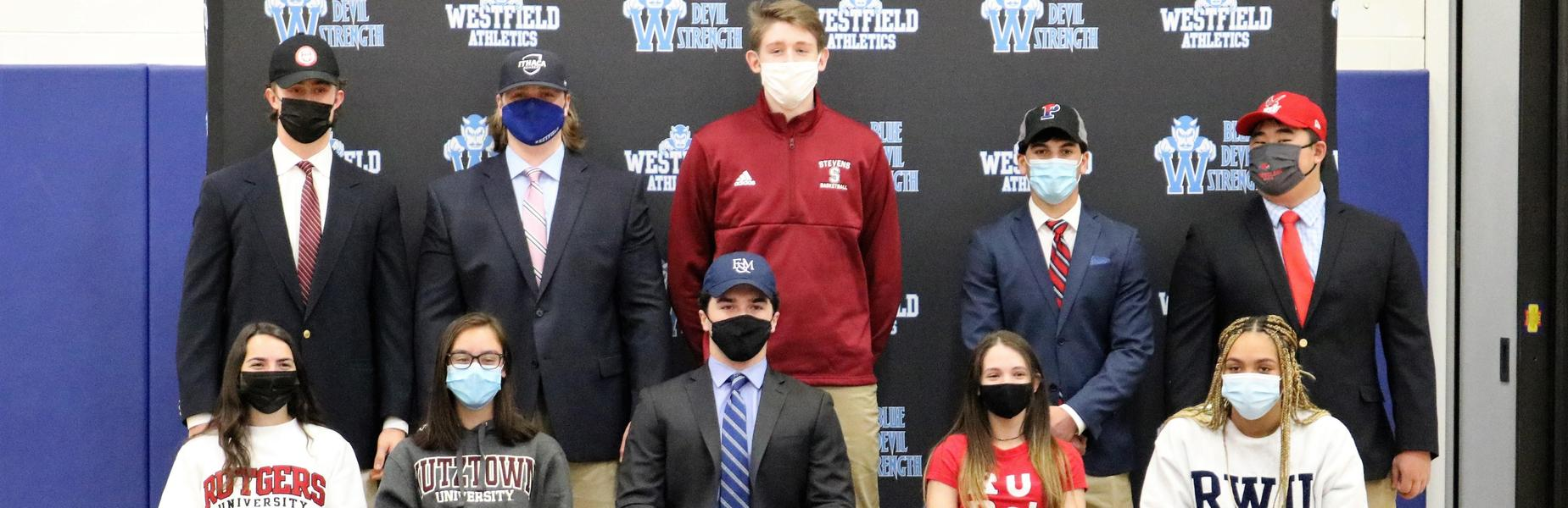 Photo of WHS seniors who signed national letters of intent to play sports at the college level.