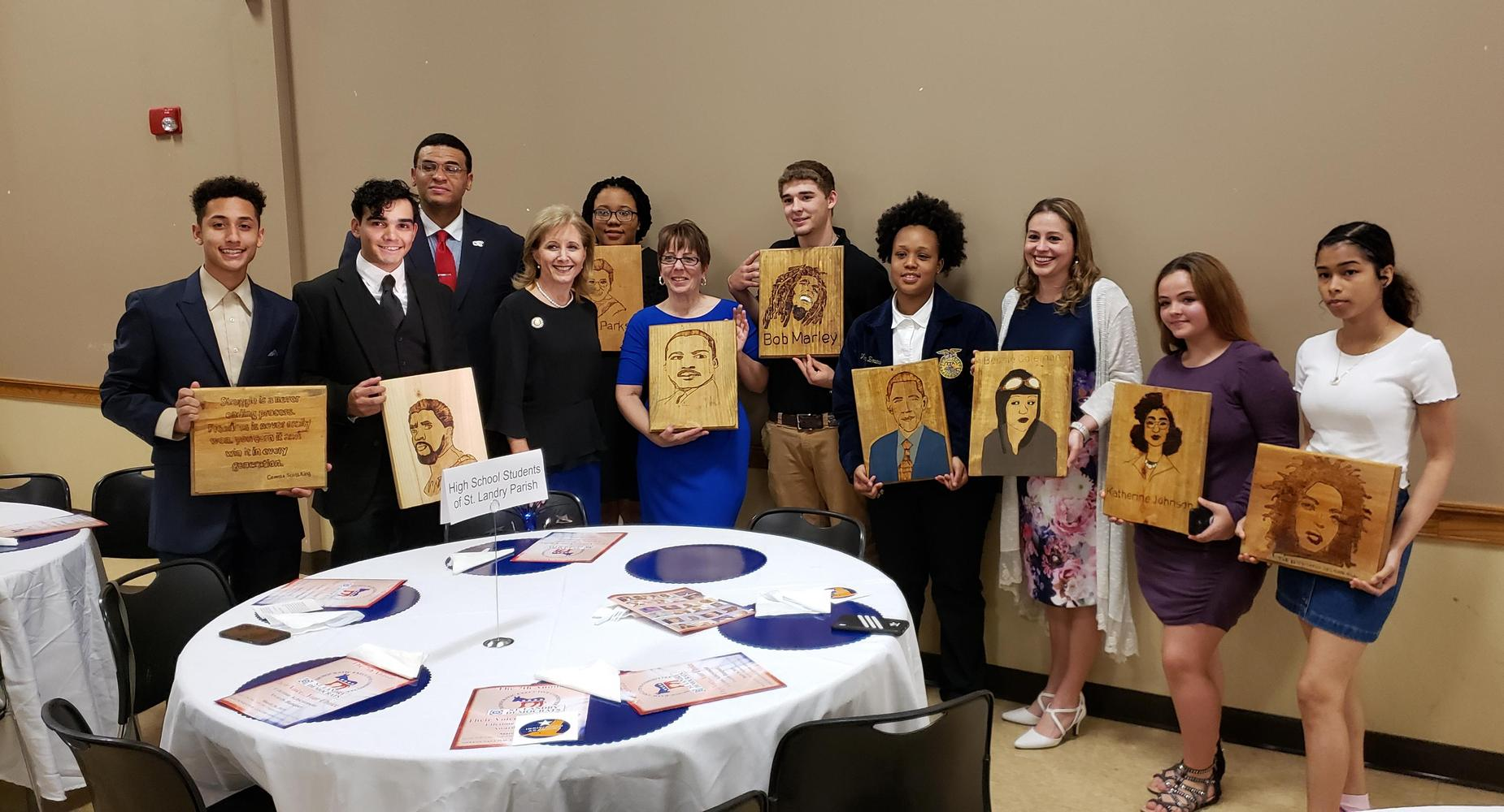 OHS students meet First Lady, Donna Edwards, at the St. Landry Democrats Lifetime Achievement Banquet