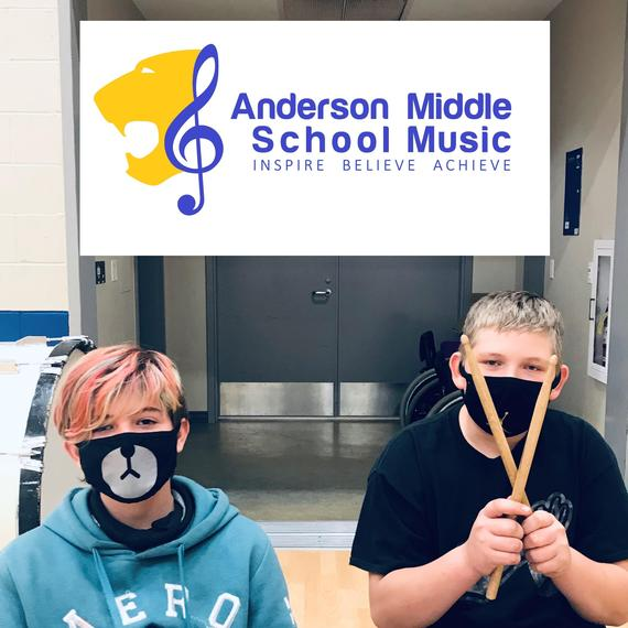 Anderson Middle School Band students and logo