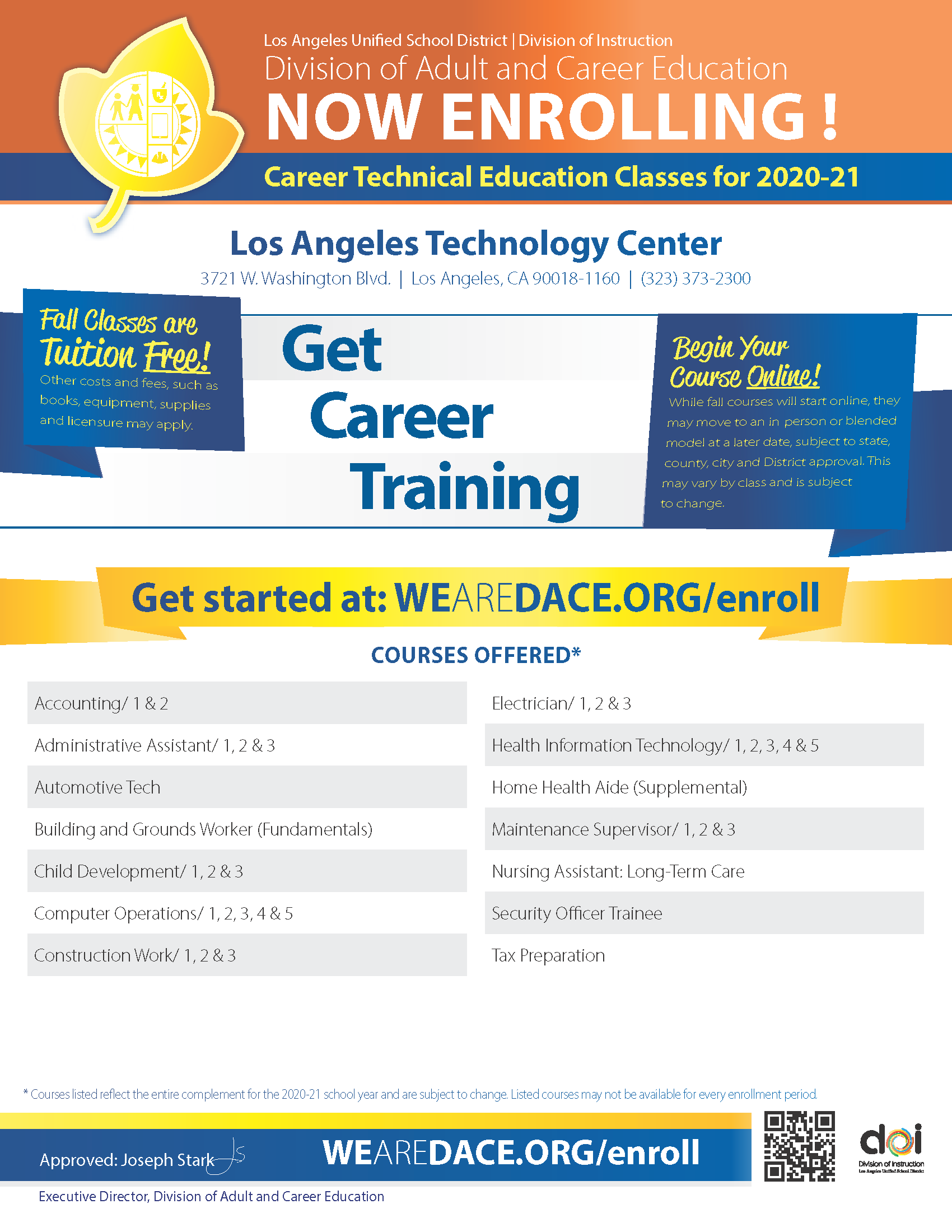 Career Technical Education Flyer for 2020-21
