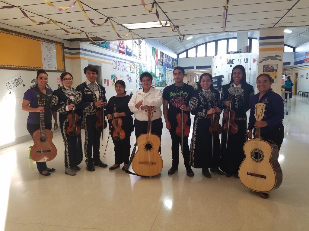 SBHS Mariachi Band posing.