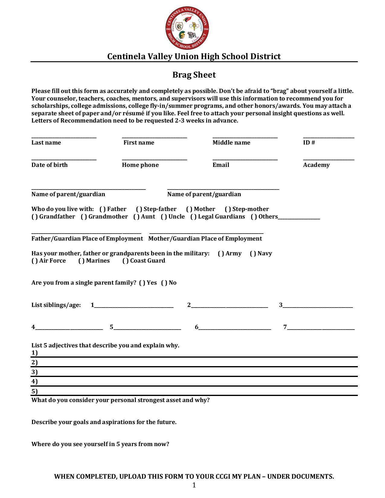 Brag Sheetletter Of Rec Counseling Lawndale High School