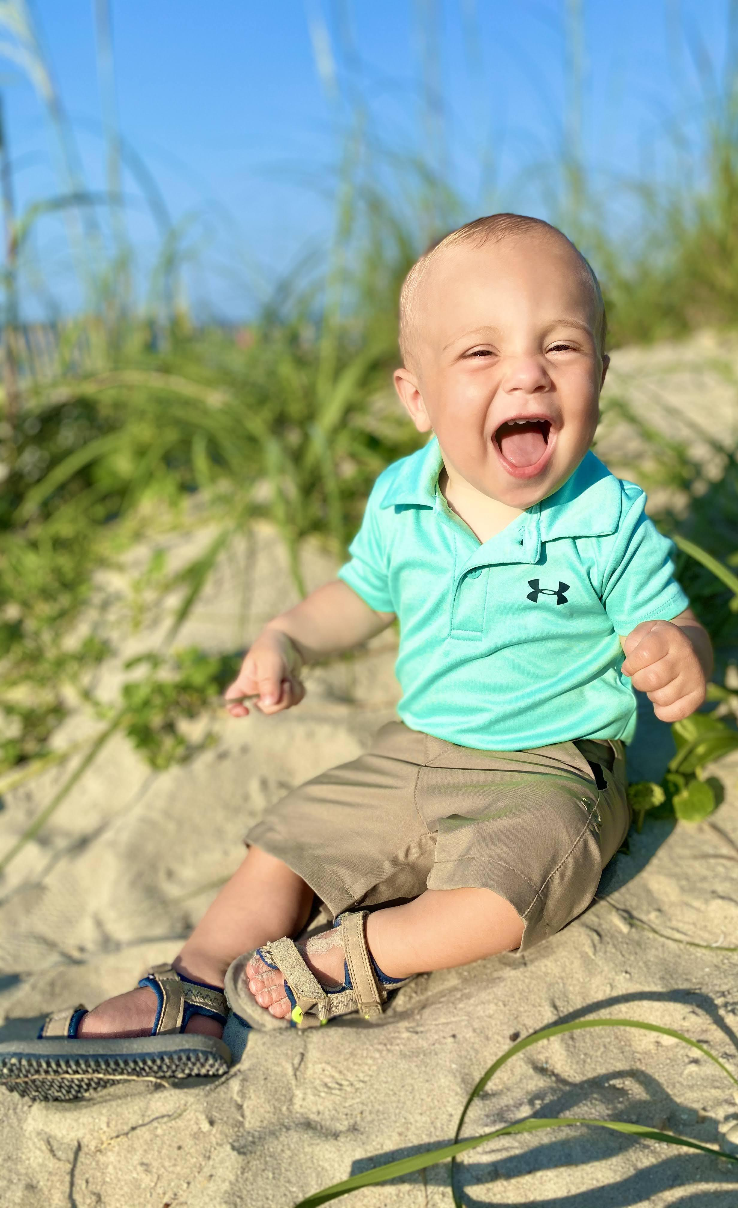 Jackson loved playing in the sand at Holden Beach!