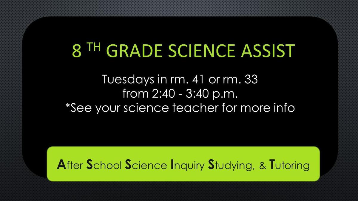 Science Tutoring available. talk to your teacher.
