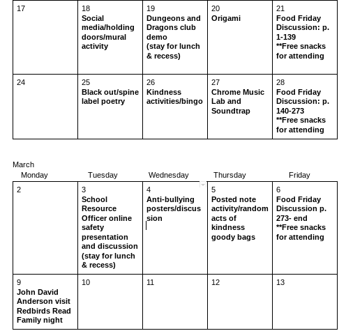 A calendar of activities for the