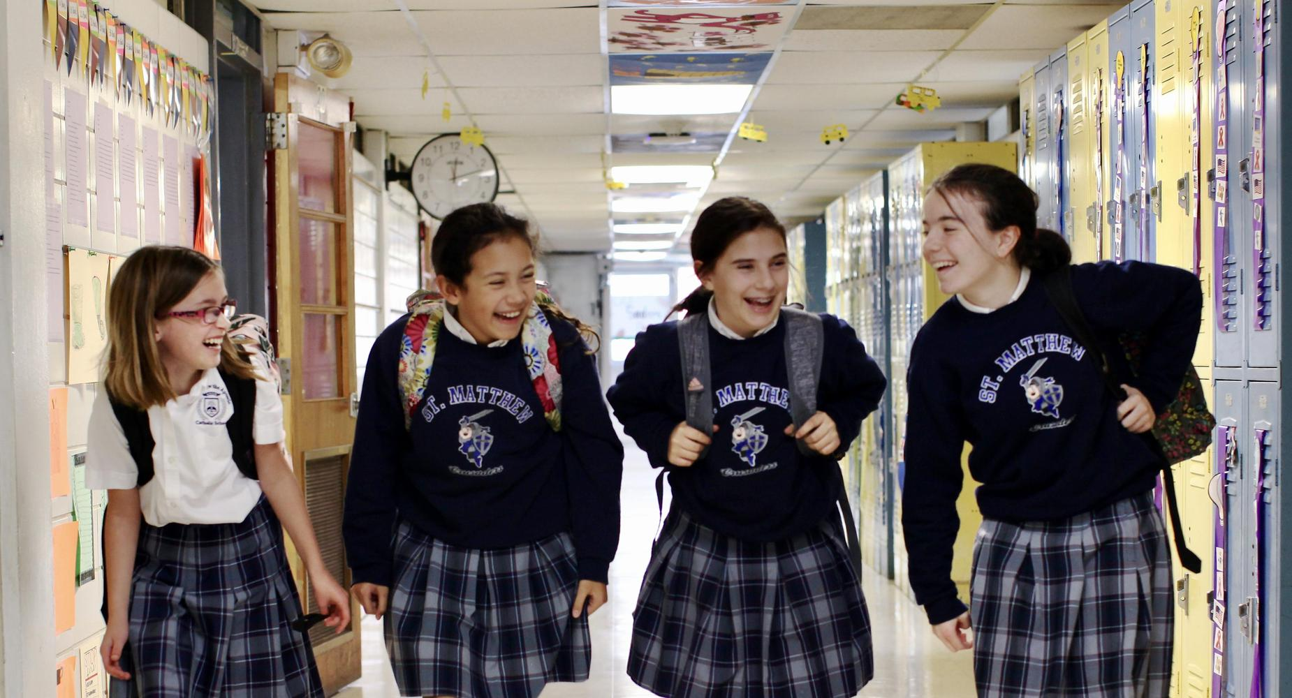 Middle School Girls in Hallway