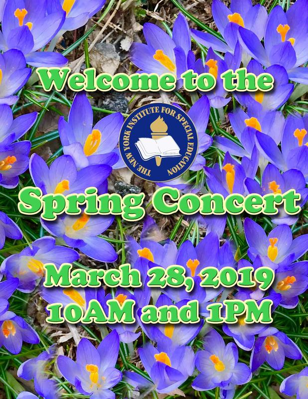 NYISE Spring Concert Program Cover words on a field of purple crocuses