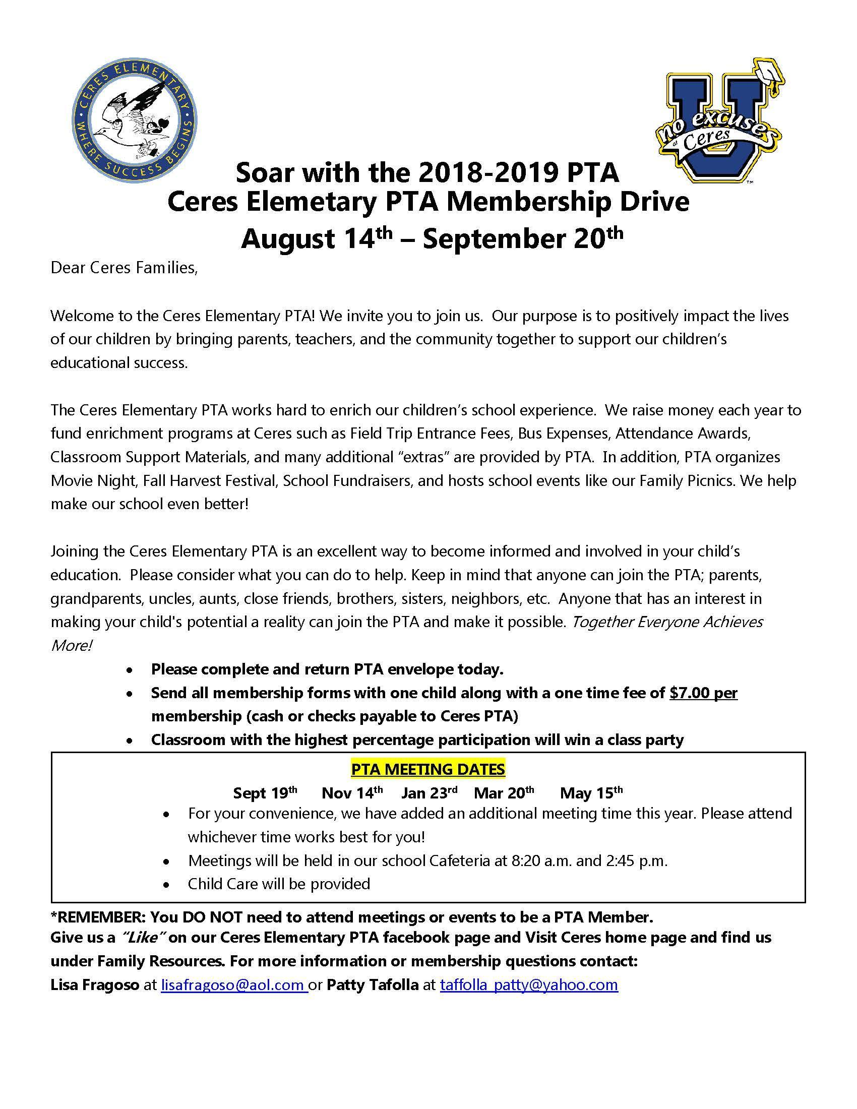 Letter for the Ceres PTA Membership Drive