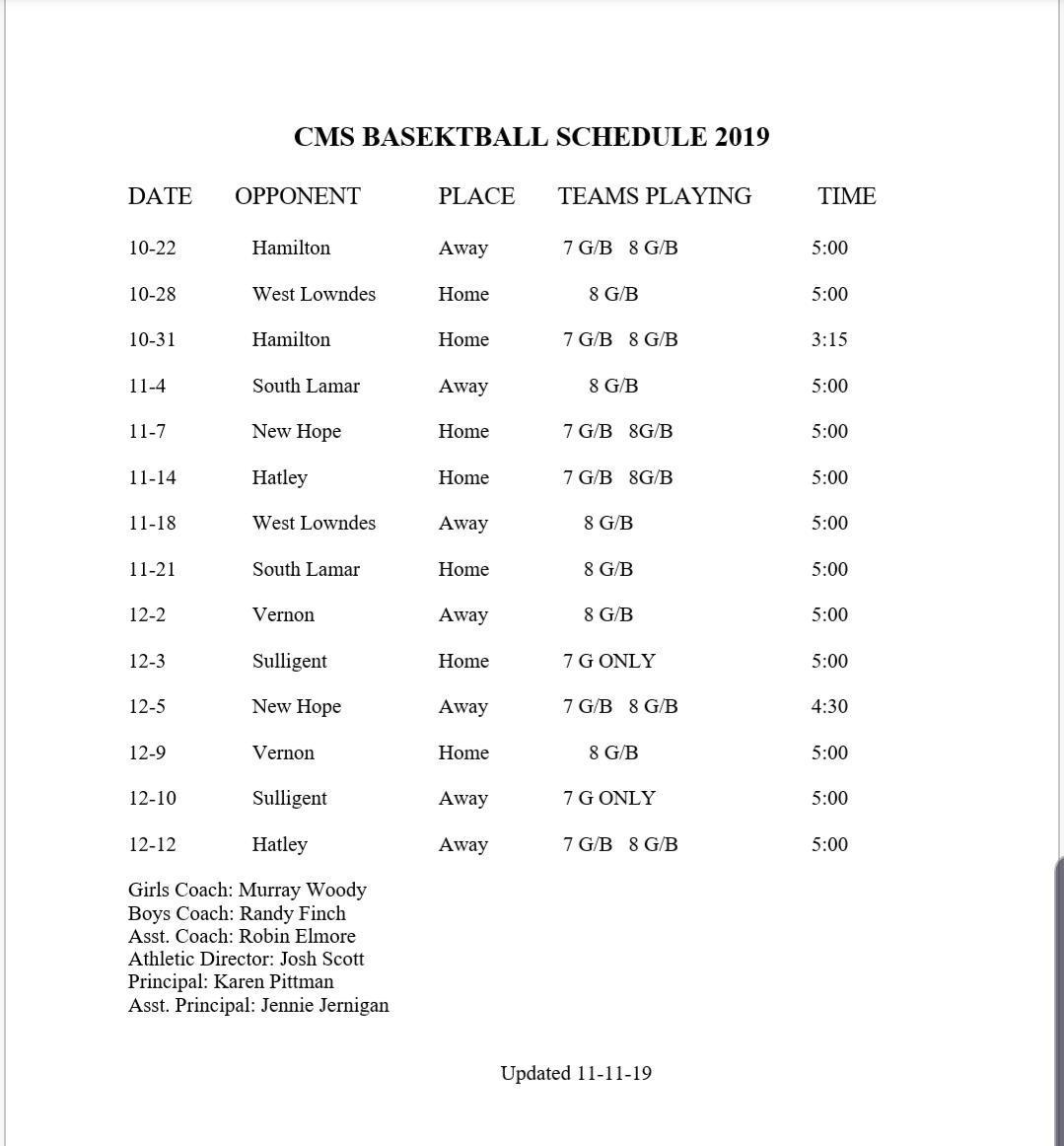 CMS Basketball 2019
