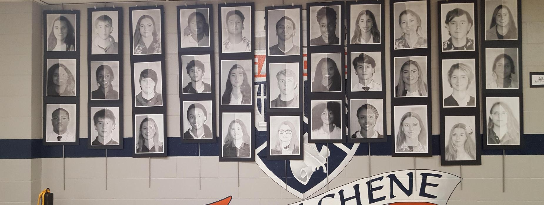 Mrs. Knott's Art II - Self Portrait Display