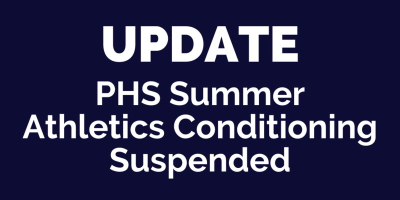 PHS Summer Athletics Conditioning Suspended Thumbnail Image