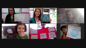 Zoom class showing Earth day projects