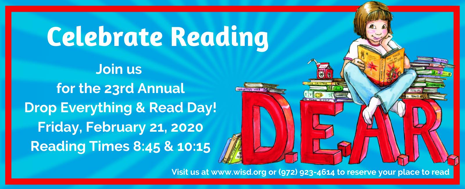 The DEAR Day mascot, Ramona, with books